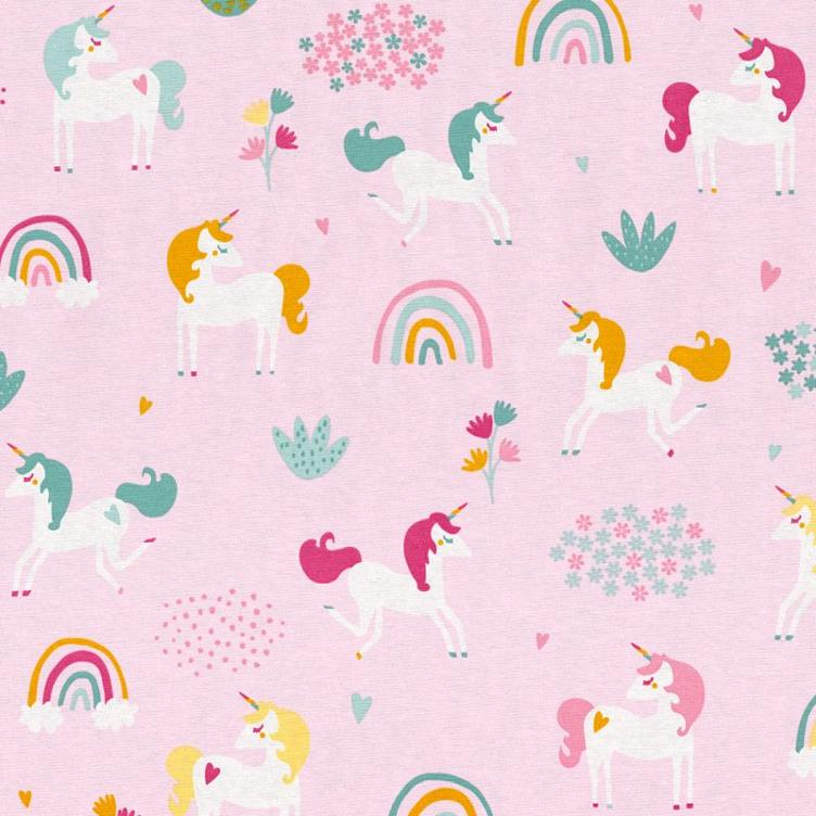 Baumwolle Unicorn/Rainbow Field, Light Pink