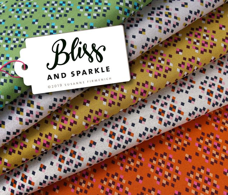 BLISS - Sparkle Jacquard-Jersey, Weiss/Senf/Rosa (2. Pos.)