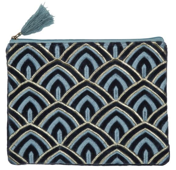 Cosmetic-Bag/Clutch, Art Deco, Blau/Petrol