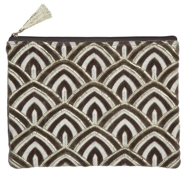 Cosmetic-Bag/Clutch, Art Deco, Grau