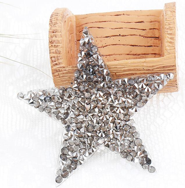 Hotfix Rhinestones `Star` Patch, Silber