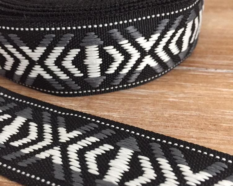 Jacquard Webband, Black/White/Grey, 25mm