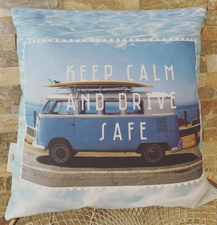 Kissen-Hülle `KEEP CALM AND DRIVE SAFE`, 45x45cm