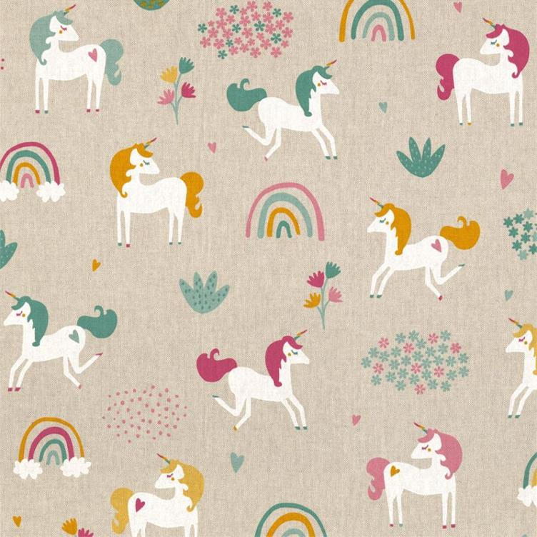 Linenlook Unicorn/Rainbow Field, Ligth Beige