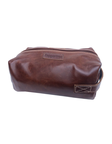 Men`s Toiletry Bag, Leather Saddle