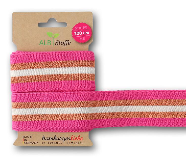 Stripe Me Band, BLISS, Pink/Bronze/Weiss, 2 Meter