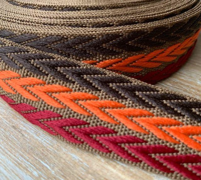 Webband 3fach-Herringbone, Braun/Orange/Bordeaux, 2.5cm