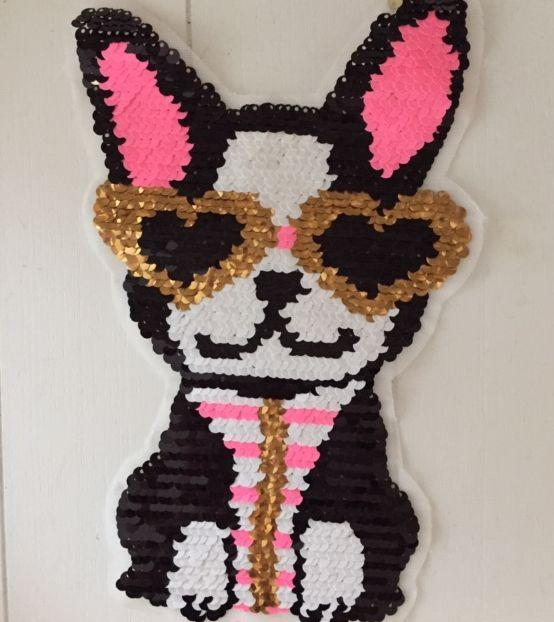XXL-Patch Sunglass Doggy (Wendepailletten)