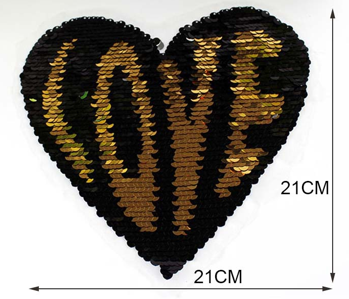 XXL Wendepailetten-Patch `LOVE HEARTS`